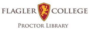 Proctor Library logo with Flagler College shield
