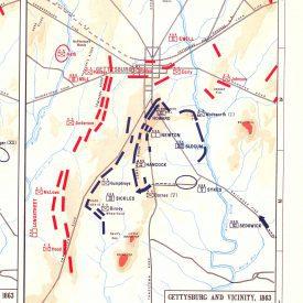 Image of map of Gettysburg battle