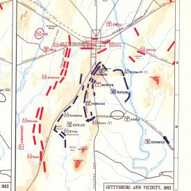 Image of map of Gettysburg battle