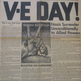 Image of front page of newspaper on VE Day